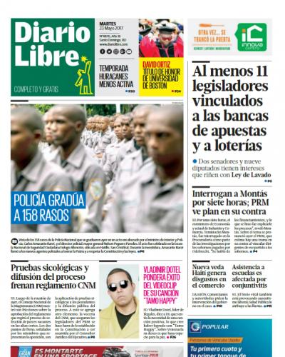 Portada Diario Libre, Martes 23 de Mayo del 2017