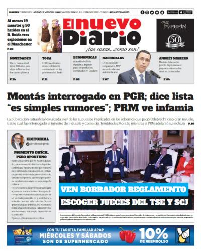 Portada El Nuevo Diario, Martes 23 de Mayo del 2017