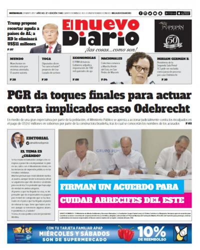 Portada El Nuevo Diario, Miércoles 24 de Mayo del 2017