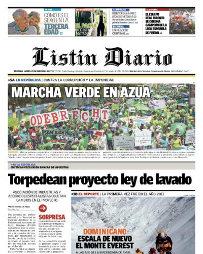Portada Listín Diario, Lunes 22 de Mayo del 2017