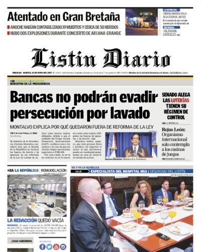 Portada Listín Diario, Martes 23 de Mayo del 2017