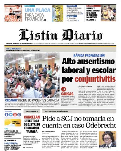 Portada Listín Diario, Miércoles 24 de Mayo del 2017