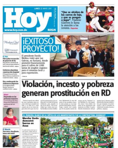 Portada Periódico Hoy, Lunes 22 de Mayo del 2017