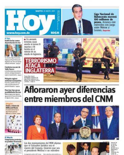 Portada Periódico Hoy, Martes 23 de Mayo del 2017