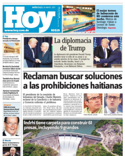 Portada Periódico Hoy, Miércoles 24 de Mayo del 2017