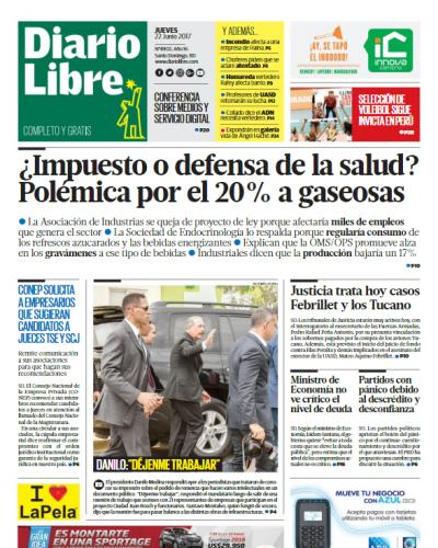 Portada Diario Libre, Jueves 22 de Junio del 2017
