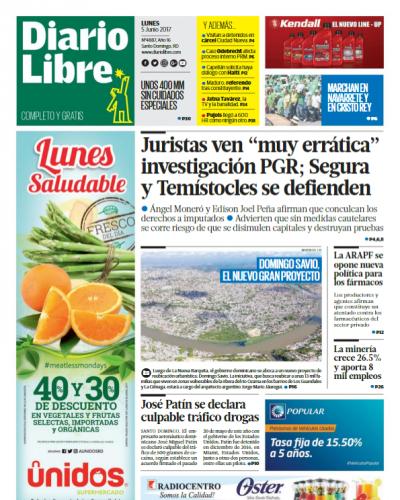 Portada Diario Libre, Lunes 5 de Junio del 2017