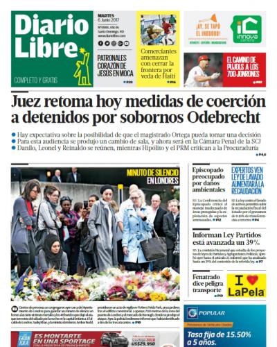 Portada Diario Libre, Martes 6 de Junio del 2017