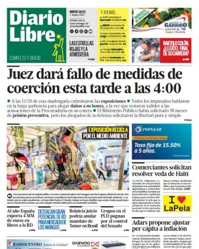 Portada Diario Libre, Miércoles 7 de Junio del 2017