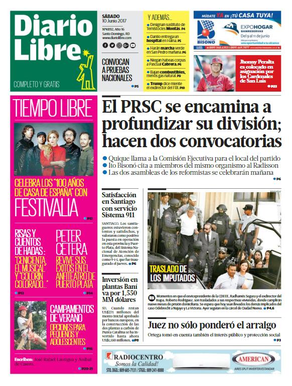 Portada Diario Libre, Sábado 10 de Junio del 2017