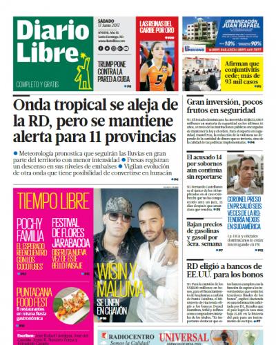 Portada Diario Libre, Sábado 17 de Junio del 2017