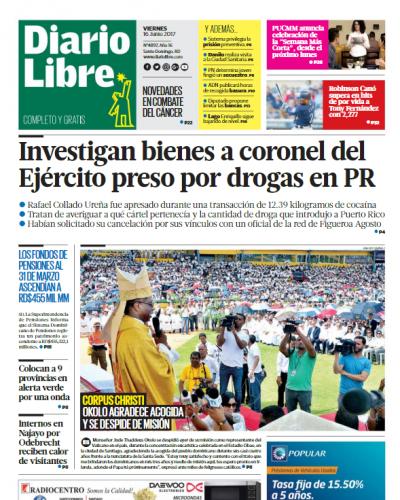 Portada Diario Libre, Viernes 16 de Junio del 2017