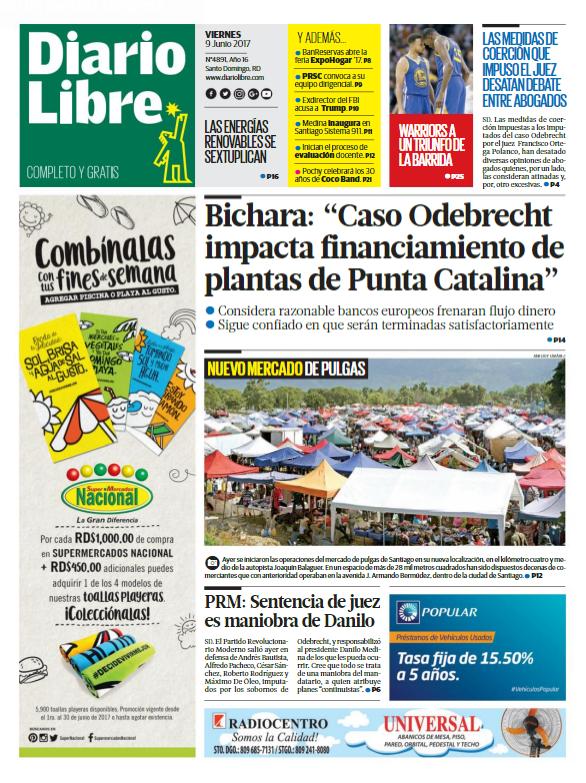 Portada Diario Libre, Viernes 9 de Junio del 2017