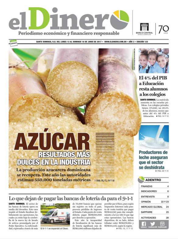 Portada El Dinero, Lunes 12 de Junio del 2017