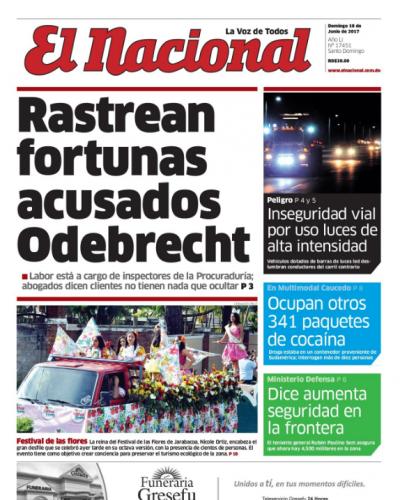 Portada El Nacional, Domingo 18 de Junio del 2017