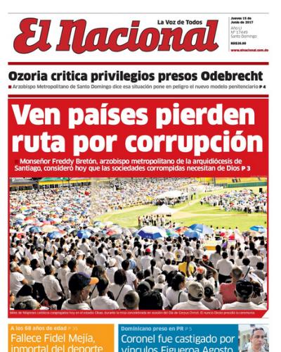 Portada El Nacional, Jueves 15 de Junio del 2017