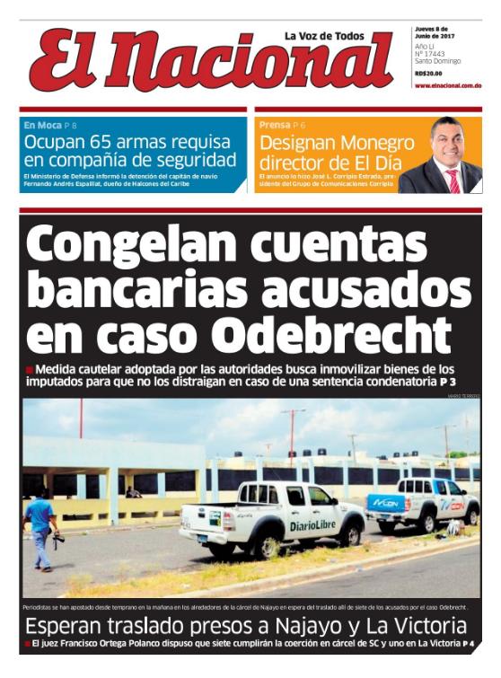 Portada El Nacional, Jueves 8 de Junio del 2017