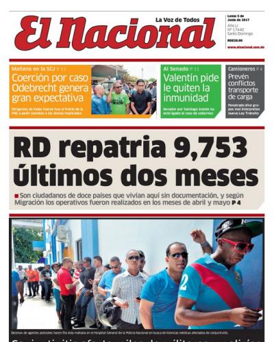 Portada El Nacional, Lunes 5 de Junio del 2017