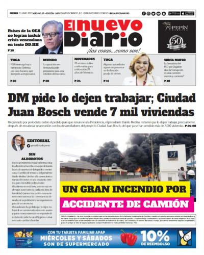 Portada El Nuevo Diario, Jueves 22 de Junio del 2017