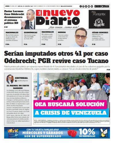 Portada El Nuevo Diario, Lunes 19 de Junio del 2017