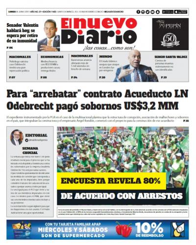 Portada El Nuevo Diario, Lunes 5 de Junio del 2017