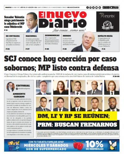 Portada El Nuevo Diario, Martes 6 de Junio del 2017
