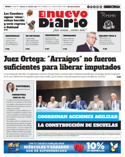 Portada El Nuevo Diario, Sábado 10 de Junio del 2017