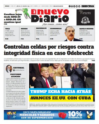 Portada El Nuevo Diario, Sábado 17 de Junio del 2017