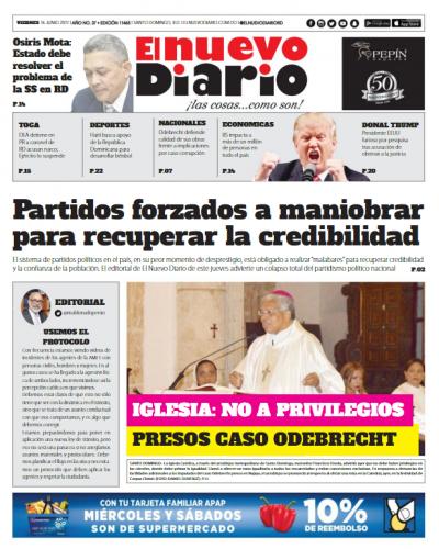 Portada El Nuevo Diario, Viernes 16 de Junio del 2017