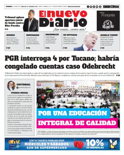Portada El Nuevo Diario, Viernes 23 de Junio del 2017