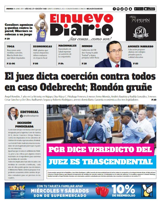 Portada El Nuevo Diario, Viernes 9 de Junio del 2017