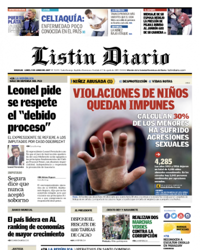 Portada Listín Diario, Lunes 5 de Junio del 2017