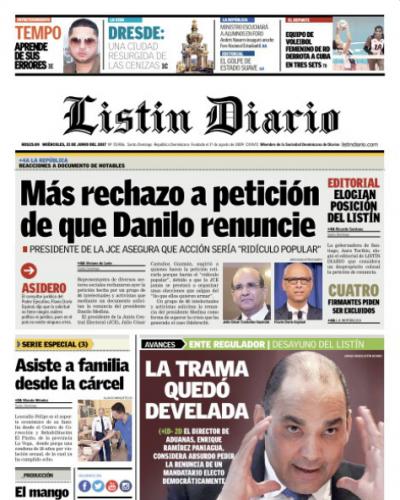 Portada Listín Diario, Miércoles 21 de Junio del 2017