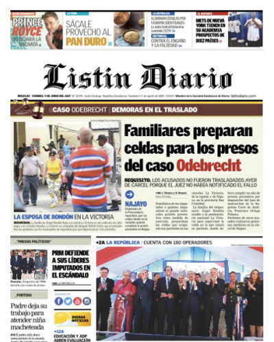 Portada Listín Diario, Sábado 10 de Junio del 2017