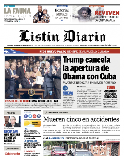 Portada Listín Diario, Sábado 17 de Junio del 2017