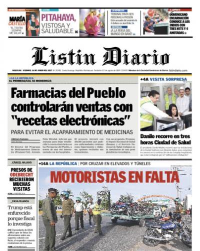 Portada Listín Diario, Viernes 16 de Junio del 2017