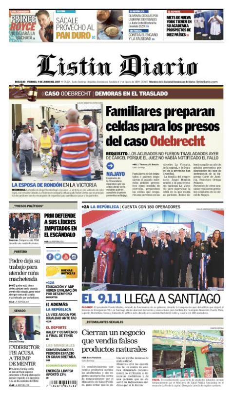 Portada Listín Diario, Viernes 9 de Junio del 2017