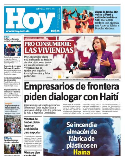 Portada Periódico Hoy, Jueves 22 de Junio del 2017