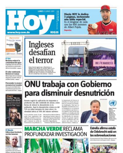Portada Periódico Hoy, Lunes 5 de Junio del 2017