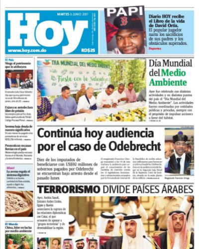 Portada Periódico Hoy, Martes 6 de Junio del 2017