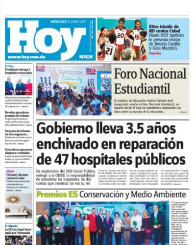 Portada Periódico Hoy, Miércoles 21 de Junio del 2017