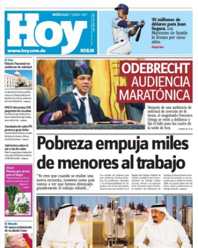 Portada Periódico Hoy, Miércoles 7 de Junio del 2017