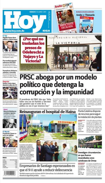 Portada Periódico Hoy, Sábado 10 de Junio del 2017