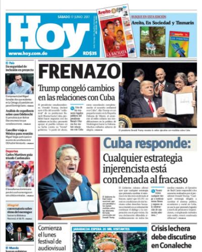 Portada Periódico Hoy, Sábado 17 de Junio del 2017
