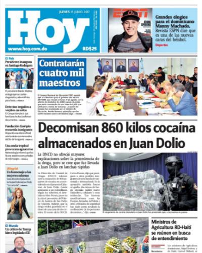 Portada Periódico Hoy, Viernes 16 de Junio del 2017