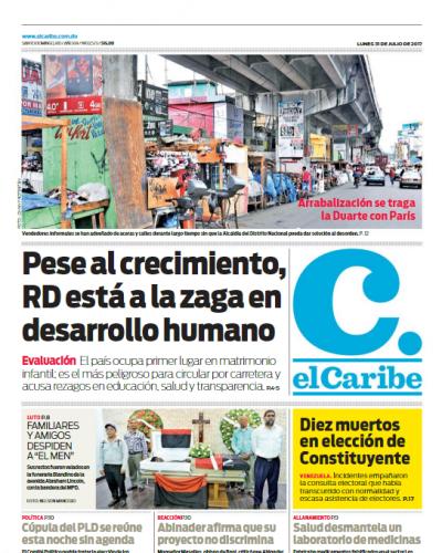 Portada El Caribe, Lunes 31 de Julio 2017