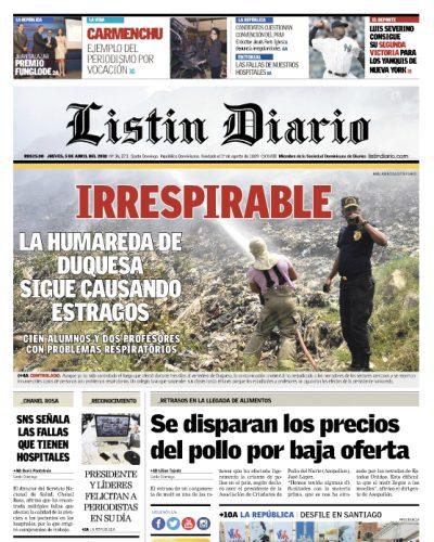 Portada Periódico Listín Diario, Jueves 05 de Abril 2018
