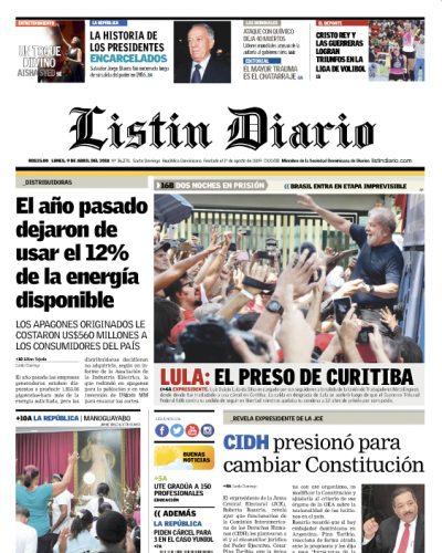 Portada Periódico Listín Diario, Lunes 09 de Abril 2018