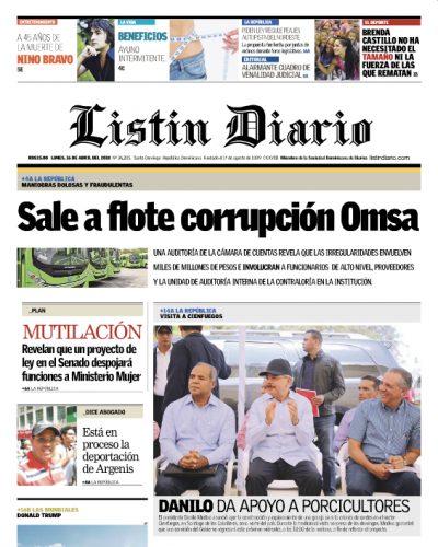 Portada Periódico Listín Diario, Lunes 16 de Abril 2018