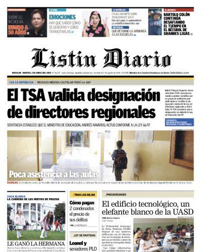 Portada Periódico Listín Diario, Martes 03 de Abril 2018